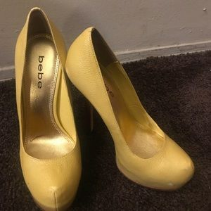 Yellow Leather Bebe Pumps Size 7